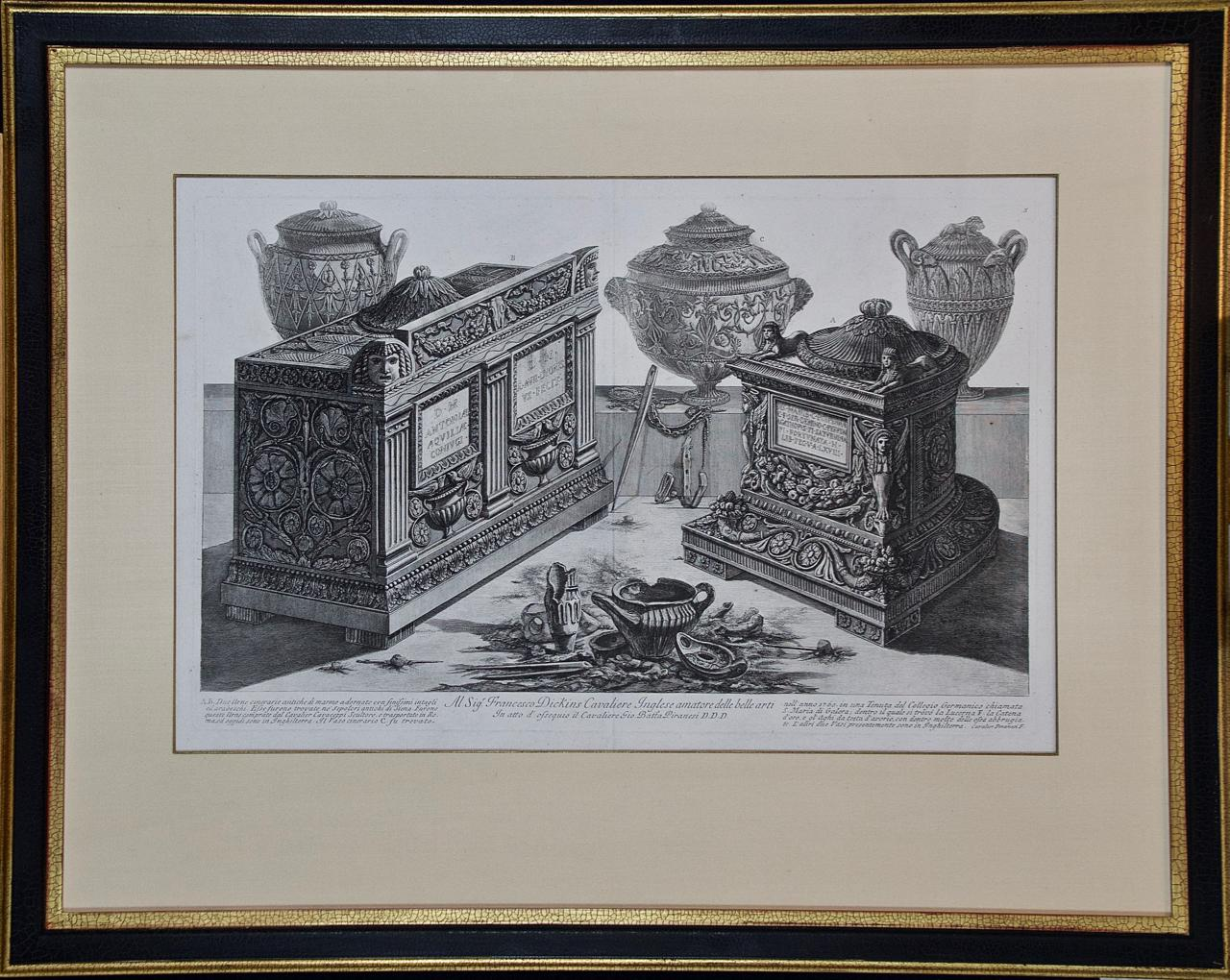 """""""Due Urne Cinerarie"""" Piranesi Etching of Ancient Roman Architectural Objects"""