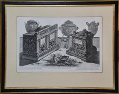 """Due Urne Cinerarie"" Piranesi Etching of Ancient Roman Architectural Objects"