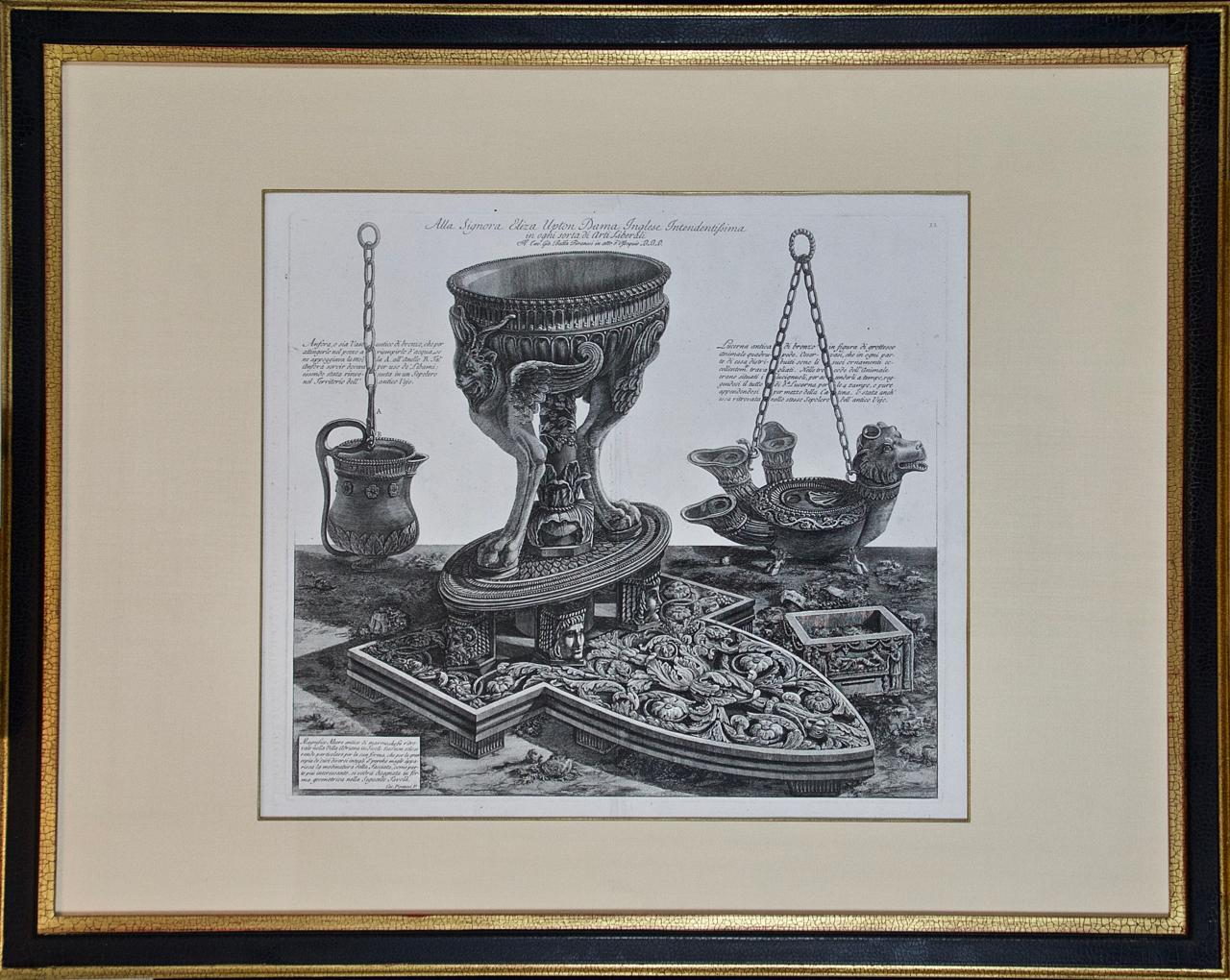 """""""Magnifico Altare"""" Piranesi Etching of Ancient Roman Architectural Objects"""