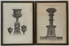 Pair of Framed Giovanni Battista Piranesi Architectural Vases Etchings C.1770