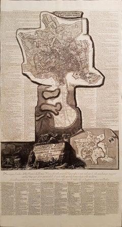 Pianta di Roma e del Campo Marzo - Rare Original Etching by G.B. Piranesi - 1774