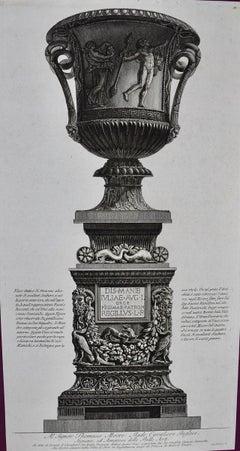 "Piranesi Etching of Ancient Roman Marble Vase, """""
