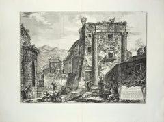 Rovine del Tempio de' Castori nella città di Cora - Etching by G. B. Piranesi