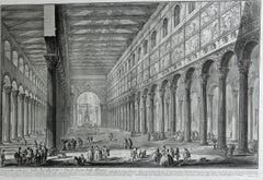 """Spaccato Interno della Basilica di S. Paolo fuori della Mura"""" Etching,"""