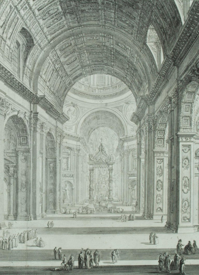 St. Peter's Interior with the Nave                       - Print by Giovanni Battista Piranesi