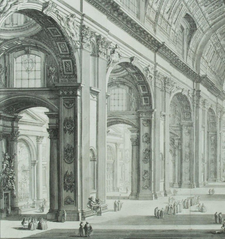 St. Peter's Interior with the Nave                       - Old Masters Print by Giovanni Battista Piranesi