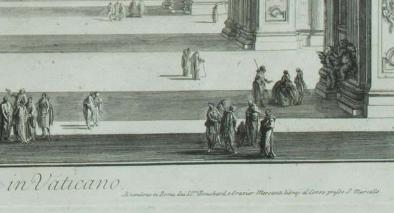 St. Peter's Interior with the Nave                                                                             Veduta interna della Basilica di S. Pietro in Vaticano Etching, 1748 Signed in the plate From: Vedute di Roma, Plate 5 An early Roman