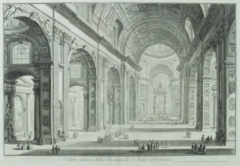 Giovanni Battista Piranesi Interior Print - St. Peter's Interior with the Nave