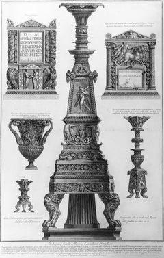 Vari Candelabri, un Vaso e Due Urne Cinerarie - Etching - 1778
