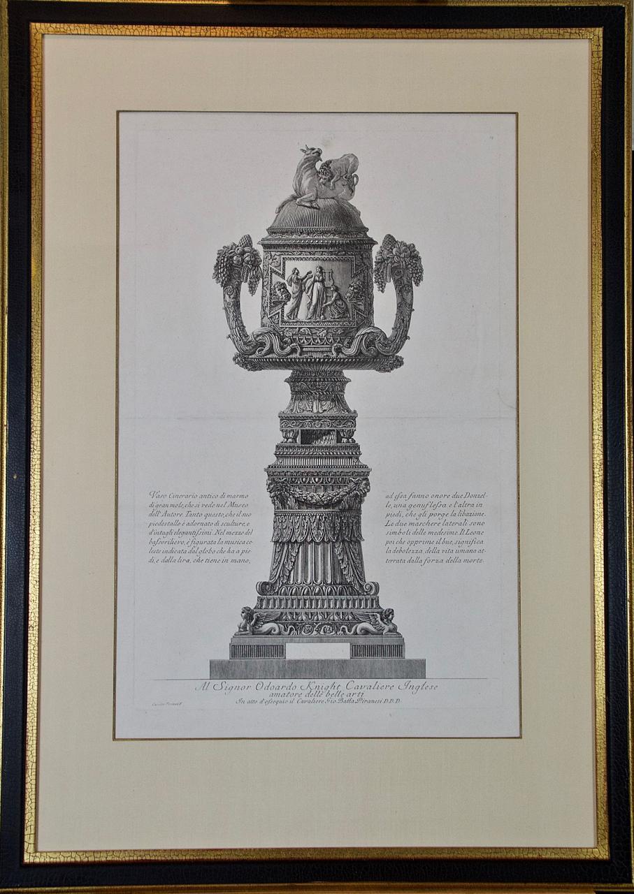 """Vaso Cinerario Antico"" Piranesi Etching of Ancient Roman Architectural Objects"