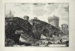 Veduta del Ponte Lugano sull'Anione - Original Etching by G. B. Piranesi