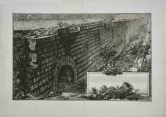 Veduta della Magnifica Sostruzione Fabricata  - Etching by G. B. Piranesi -1760s
