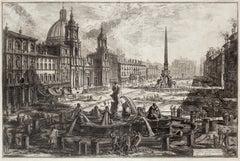 View of Piazza Navona - Original Etching by G. B. Piranesi - 1773 ca.