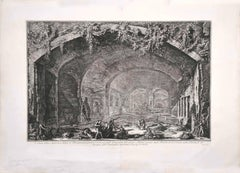 View of the Cave known as Bergantino  - Etching by G. B. Piranesi - 1762