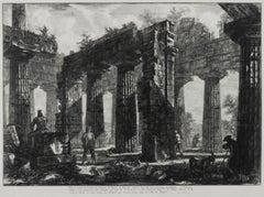 Vue des restes du derriere du Pronaos du Temple de Neptune dessine dans les deux