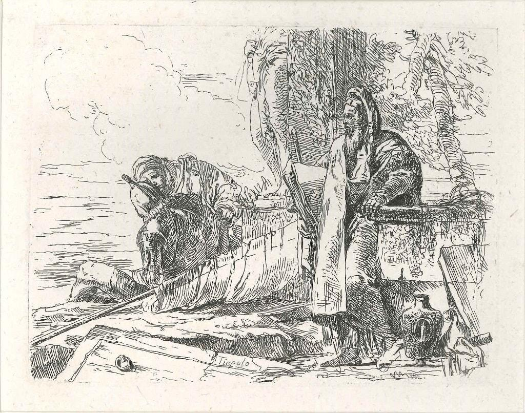 Philosopher Standing with Two Figures - Original Etching by G.B. Tiepolo