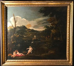 Important 17' Century Mythological Painting Diana and Actaeon Oil on Canvas
