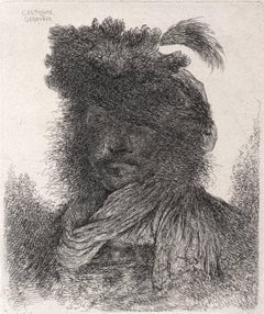 Bearded Man with Shadowed Face, Wearing a Scarf and a Plumed Hat, (3rd state)