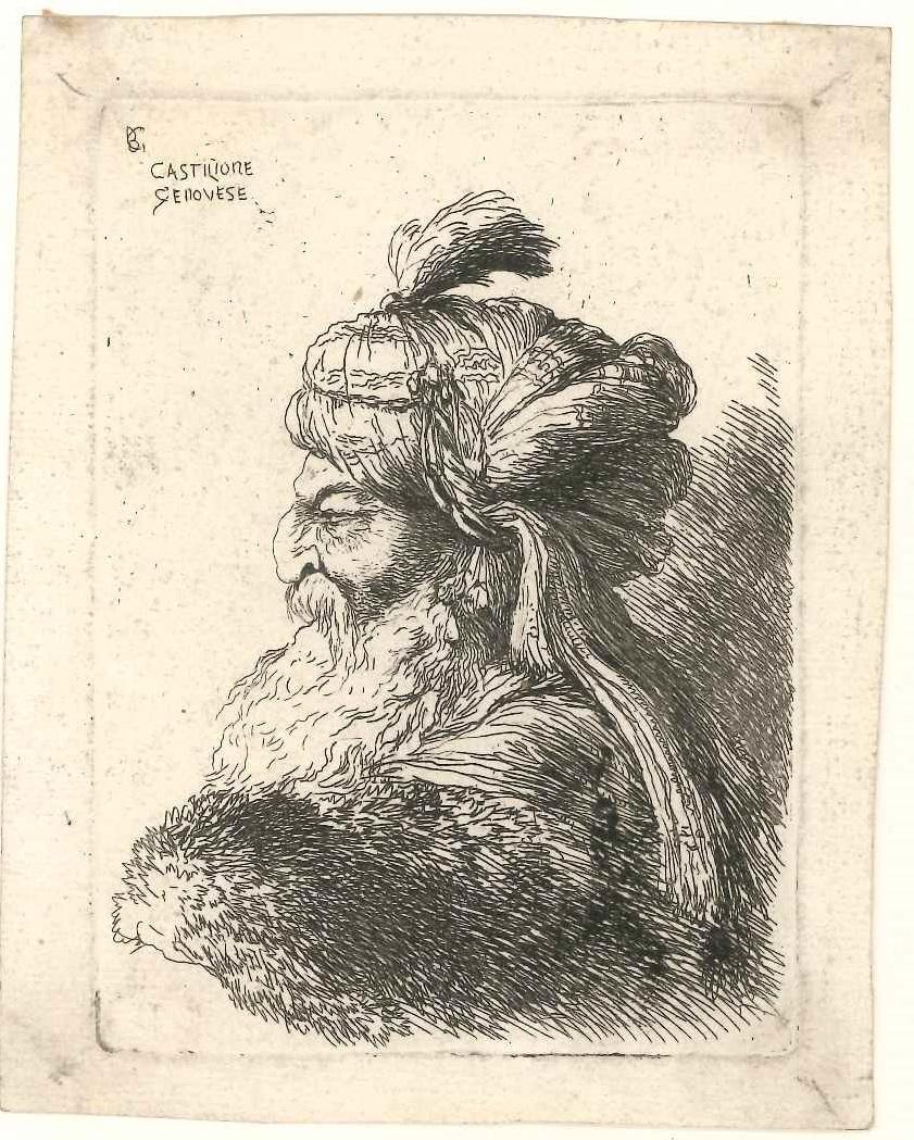 """Men with Turban - Original Etching by G.B. Castiglione, so called """"Il Grechetto"""""""