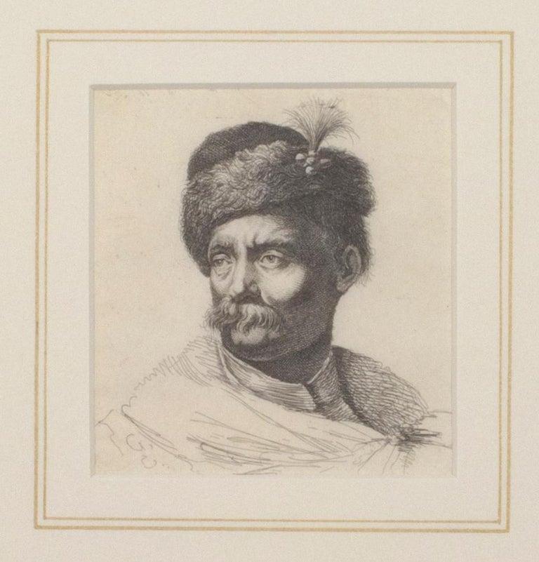 """Giovanni Benedetto Castiglione Figurative Print - """"Portrait of a Man"""" original engraving by Italian Baroque artist Castiglione"""