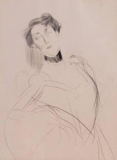 Etude de femme au ruban noir