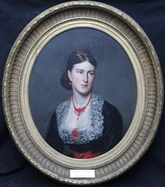 Portrait of Florence Chambres - Italian oil painting 19th century  Victorian Art