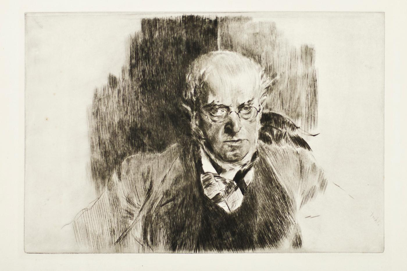 Portrait of Adolph Menzel - Original Etching by Giovanni Boldini - 1897
