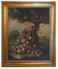 FLOWERING - Italian School -Oil on Canvas Italian Still Life Painting