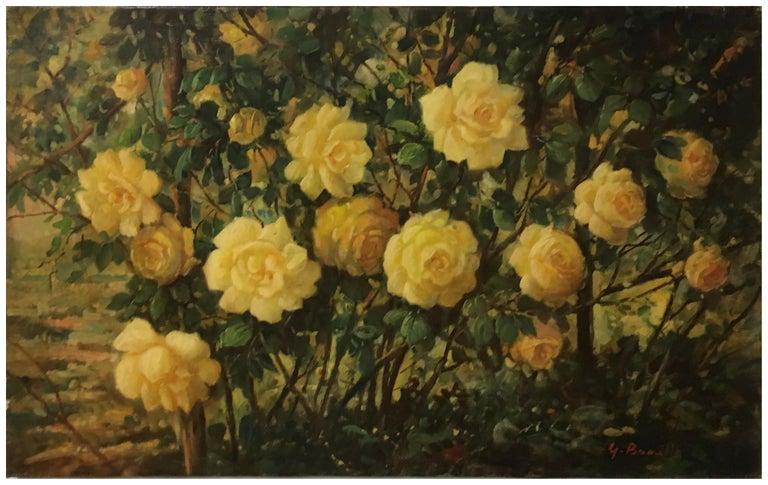 FLOWERS - Italian still life oil on canvas painting, Giovanni Bonetti - Brown Still-Life Painting by Giovanni Bonetti