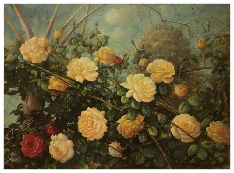 FLOWERS - Italian still life oil on canvas painting, Giovanni Bonetti - Brown Still-Life Painting by Giovanni Bonetti