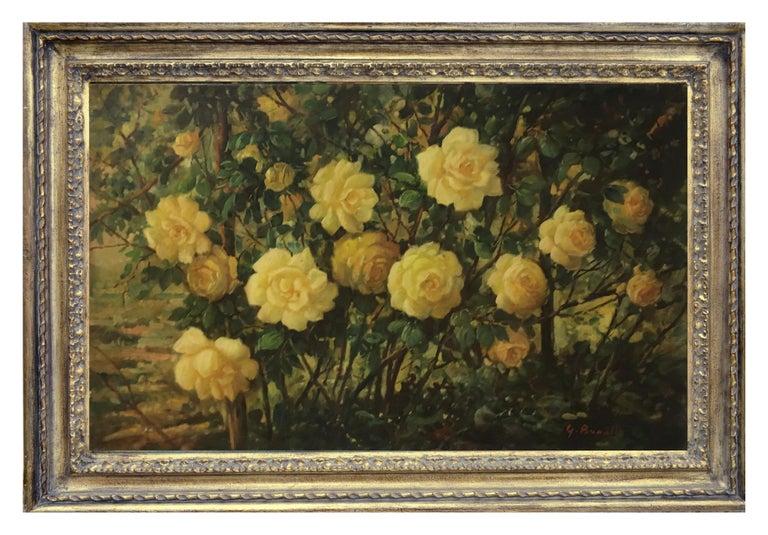 FLOWERS - Italian still life oil on canvas painting, Giovanni Bonetti - Painting by Giovanni Bonetti