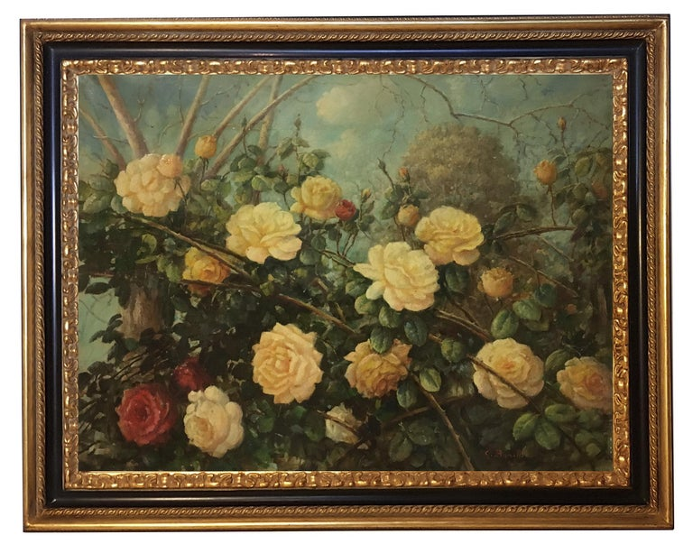 FLOWERS - Italian still life oil on canvas painting, Giovanni Bonetti - Painting by Giovanni Bonetti