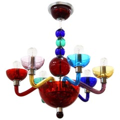 Giovanni Cenedese Italian Modern Murano Glass Multicolored Chandelier