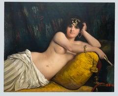 Portrait of Odalisque - Oil on Canvas by Giovanni Costa - 1858