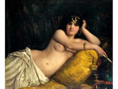 Portrait of Odalisque - Oil on Canvas by Nino Costa - 1858