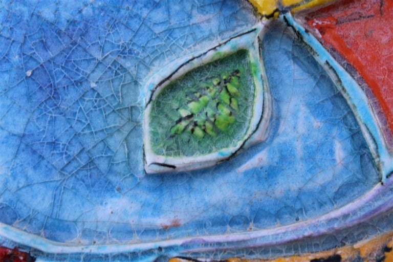 Giovanni de Simone Ceramic Tile Italian Design Multi-Color Swordfish Marlin 1970 For Sale 5