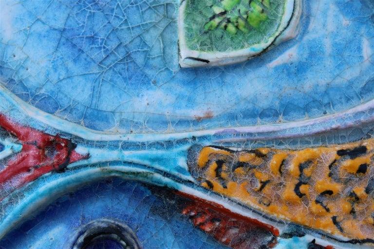 Giovanni de Simone Ceramic Tile Italian Design Multi-Color Swordfish Marlin 1970 For Sale 6