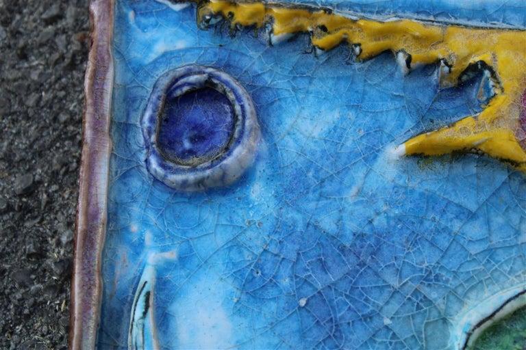 Giovanni de Simone Ceramic Tile Italian Design Multi-Color Swordfish Marlin 1970 For Sale 7