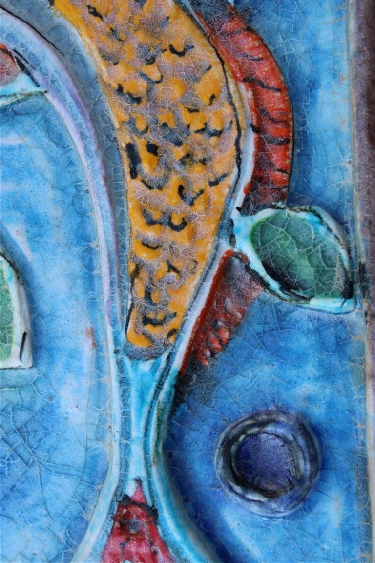 Mid-Century Modern Giovanni de Simone Ceramic Tile Italian Design Multi-Color Swordfish Marlin 1970 For Sale