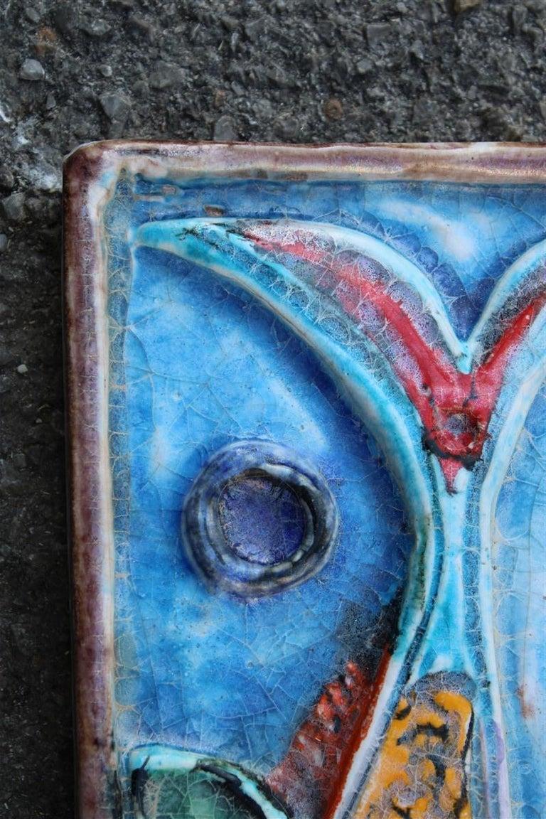 Giovanni de Simone Ceramic Tile Italian Design Multi-Color Swordfish Marlin 1970 In Good Condition For Sale In Palermo, Sicily