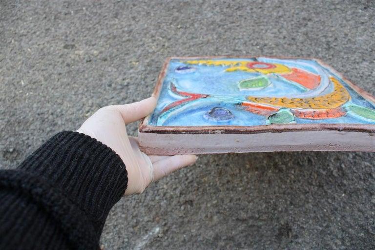 Giovanni de Simone Ceramic Tile Italian Design Multi-Color Swordfish Marlin 1970 For Sale 1