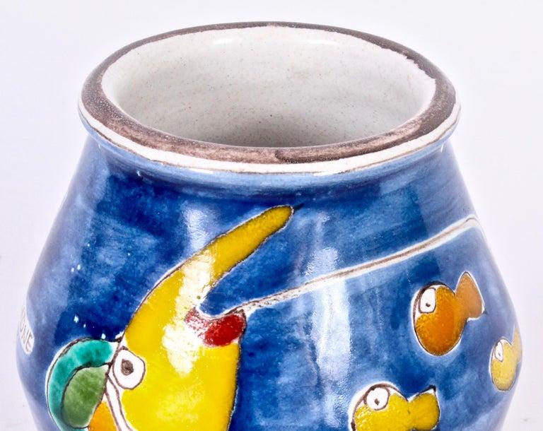 Modern Giovanni DeSimone for Vietri Vibrant Hand-Painted Glazed Ceramic Vase For Sale