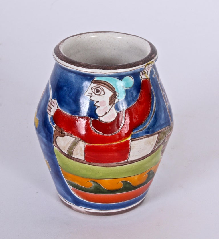 Giovanni DeSimone for Vietri Vibrant Hand-Painted Glazed Ceramic Vase In Excellent Condition For Sale In Bainbridge, NY