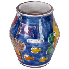 Giovanni DeSimone for Vietri Vibrant Hand-Painted Glazed Ceramic Vase