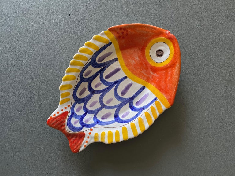 Giovanni Desimone hand painted fish plate / charger / centerpiece 1964.