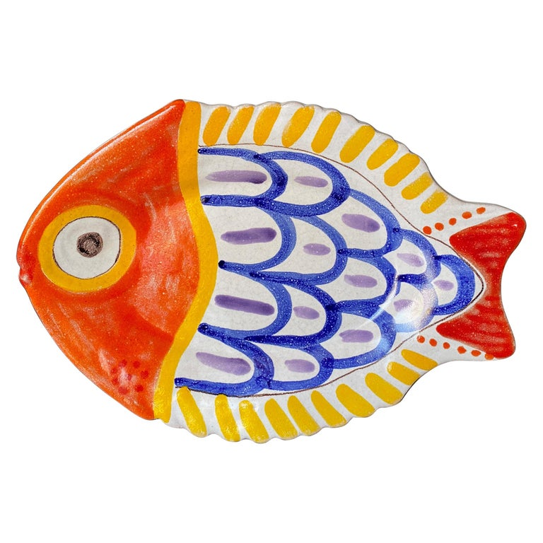 Giovanni DeSimone Hand Painted Fish Plate, Italy, 1964 For Sale