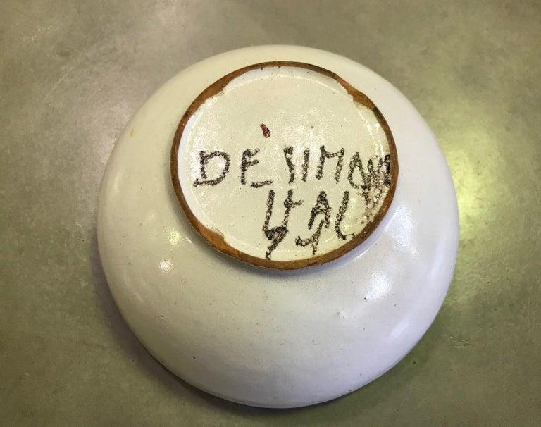Giovanni Desimone Signed Hand Painted Italian Midcentury Ceramic Pottery Bowl 4