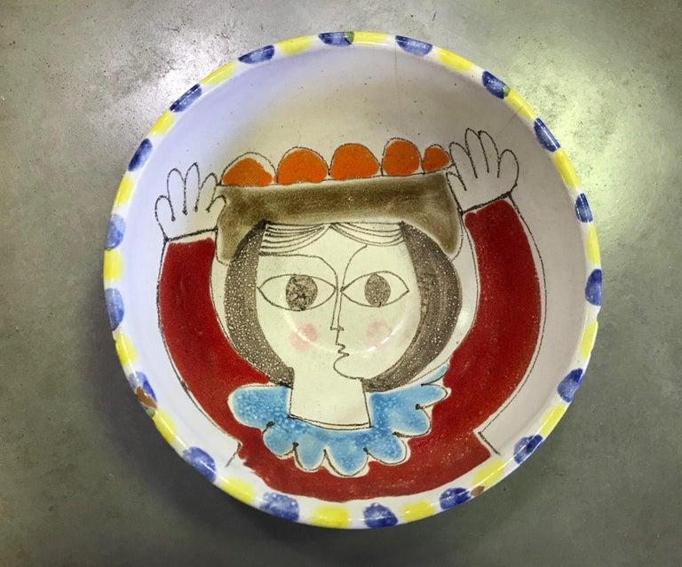 Giovanni Desimone Signed Hand Painted Italian Midcentury Ceramic Pottery Bowl In Good Condition In Studio City, CA