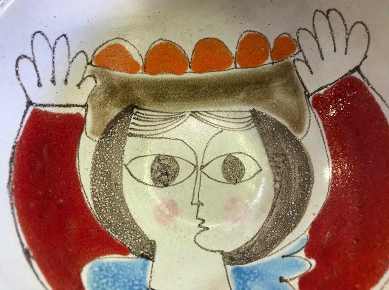 Mid-20th Century Giovanni Desimone Signed Hand Painted Italian Midcentury Ceramic Pottery Bowl