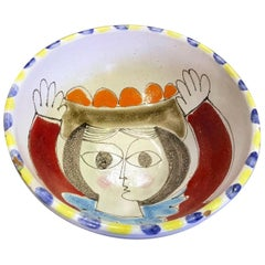 Giovanni Desimone Signed Hand Painted Italian Midcentury Ceramic Pottery Bowl